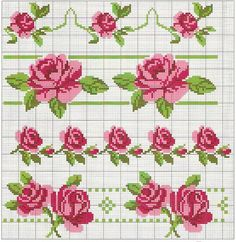 Cross-Stitch roses borders no color chart available, just use pattern ch Cross Stitch Borders, Cross Stitch Flowers, Cross Stitch Charts, Cross Stitch Designs, Cross Stitching, Cross Stitch Embroidery, Hand Embroidery, Cross Stitch Patterns, Loom Beading