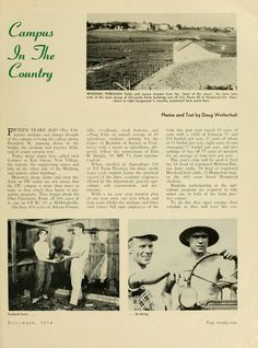 """The Ohio Alumnus, December 1954. Agriculture students work the Ohio University Farm, the """"Campus In The Country."""" :: Ohio University Archives"""