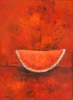 Semi-abstract painting of watermelon; oil on board; framed; signed and attr. Rufino Tamayo (Mexico, 1899-1991) on lower left corner; Mexican painter of Zapotec heritage, painting figurative abstraction with surrealist influences; dated 1986.