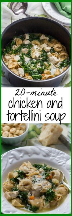 20-Minute Chicken and Tortellini Soup ~ A one-pot chicken tortellini soup that's ready in 20 minutes - light, healthy and full of flavor!