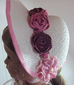 """""""Summer Rose"""" straw hat, decorated with crocheted and paper flowers (with pink eyelet dress) by LetsPretenDollFashon, $55.00"""