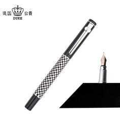 Duke 928 Classic Black and White Chessboard Metal Fountain Pen with 0.5mm Nib Inking Pens with Original Case Christmas Gift #Affiliate