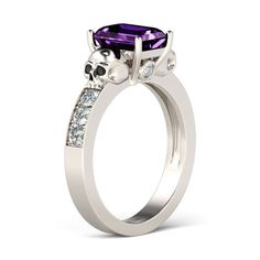 Its purple!!!!! $169  Emerald Cut Amethyst Rhodium Plated Sterling Silver Designer Skull Ring