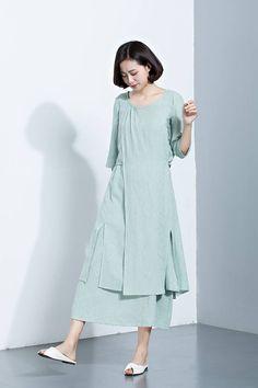 Mint Green Linen DressLayered DressMidi Calf DressPrinted