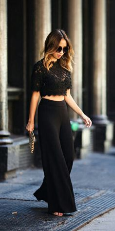12055fbb31a Lace Locks Everything Black Wide Leg Pants Fall Inspo Women apparel…  Clothing