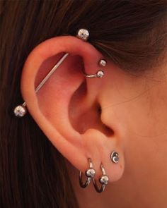 Looking for information of the Pinna Ear Piercing. Suitable jewellery for the Pinna ear piercing, tragus piercing, conch piercing and other ear piercing ideas. Pinna piercing rings, cuffs and studs. Piercing Oreille Anti Helix, Bijoux Piercing Septum, Innenohr Piercing, Piercing Orbital, Helix Piercing Jewelry, Cool Ear Piercings, Ear Peircings, Multiple Ear Piercings, Helix Earrings