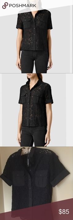 All Saints Delliance Embroidered Shirt Adorned in pretty floral lace, this shirt from AllSaints is the a truly feminine wardrobe update. In a military shape, this shirt features short sleeves, epaulettes, a neat collar and contrast breast pockets with a flap over design. Team yours with a leather mini skirt and heeled boots for a chic finish.Outer 100% Viscose Outer Shell 60% Cotton 40% Nylon -Hand wash - Reshape Dry Flat All Saints Tops Button Down Shirts