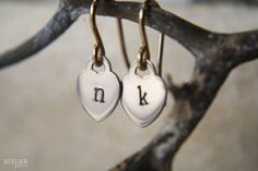 Custom Letter Stamped Heart Earrings in by ATELIERGabyMarcos, $49.00