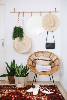 Hanging Entryway Organizer DIY   This minimalist hanger is the only organizational tool you'll need in your hallway. Hang up all the entryway necessities, from hats to coats to even a mirror, for easy access and minimal hallway clutter.