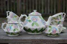 Chevron ZigZag Little Girls China Tea Set Handpainted by hollyslay