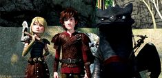 RTTE   Astrid   Hiccup   Toothless. I feel like by the unimpressed looks on their faces, they're watching the twins do something stupid XD