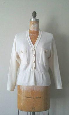 Vintage 1980s Knit Ivory Peplum Cardigan Sweater by RackedVintage