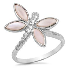 Sterling Silver CZ Simulated Diamond abd Simulated Pink Stone Dragonfly Ring 19MM