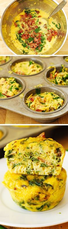 Breakfast Egg Muffins with Bacon and Spinach Recipe: These muffins make a great breakfast, lunch, or a snack to pack up for work, school, or a picnic! Gluten free!