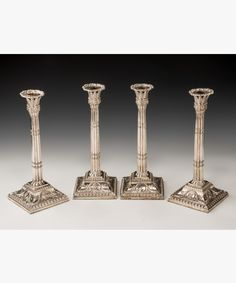 Set of 4 #Georgian #silver old Sheffield plate candlesticks #lighting