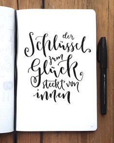 ✨ Den Spruch hab ich bei ✨ Den Spruch hab ich bei gelesen You are in the right place about Psychology quotes Here we offer you the most beautiful picture Letters Of Note, Love Letters, Brush Lettering, Hand Lettering, Key To Happiness, Paint Pens, Letter Art, True Words, Quotations