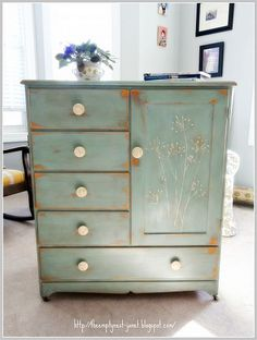 Coco & Duck Egg Blue Annie Sloan chalk paint w/ clear & dark wax. Handpainted wildflowers and painted knobs