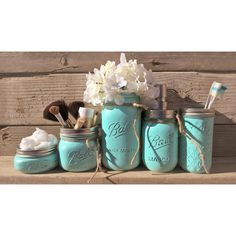 Mason Jar Bathroom Set-Make Up Brush Holder-Rustic Bathroom ($43) ❤ liked on Polyvore featuring home, bed & bath, bath, bath accessories, bathroom, cups & storage, grey, home & living, lidded jar and toothbrush holder
