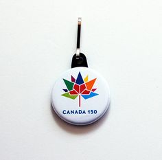 Canada 150 zipper pull, Canada 150 logo, zipper charm, purse charm, bag charm, Canada Day, Canada 150 birthday, Canada 2017, rainbow (7476) by KellysMagnets on Etsy Canada 150 Logo, Canada Day, Zipper Pulls, Color Combos, Pride, Rainbow, Bag, Birthday, Etsy
