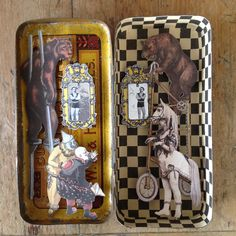 Circus scene in old tin