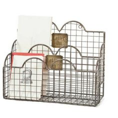 """Mail Caddy - Aged Nickel features brass signs that read """"Letters In"""" and """"Letters Out"""". Has two compartments that fit books, letters, and any standard size envelope. Features two rings on the back for hanging."""