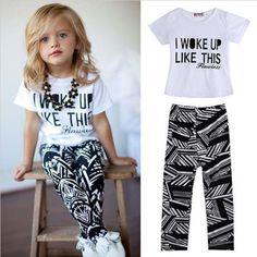 Baby Girls clothes sets letter Stripe Casual Toddler girl clothing Cotton T shirt + long Pants kids Outfits Set 13M to 7Y HB227 - http://www.aliexpress.com/item/Baby-Girls-clothes-sets-letter-Stripe-Casual-Toddler-girl-clothing-Cotton-T-shirt-long-Pants-kids-Outfits-Set-13M-to-7Y-HB227/32425348536.html