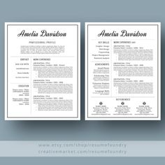 Professional Resume Template / CV Template Cover by ResumeFoundry Modern Resume Template, Creative Resume Templates, Cv Template, Cover Letter For Resume, Cover Letter Template, Cover Letters, Resume Writing Examples, Job Posting, Resume Tips