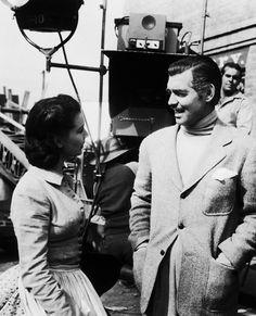 Clark Gable y Vivien Leigh en el set de 'Lo que el viento se llevó' ('Gone With the Wind', 1939)
