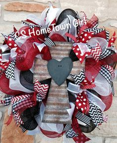 Tin Cross with Slate Heart Wreath by CSHomeTownGirl on Etsy