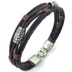 KONOV Bijoux Bracelet Homme - Tribal Tressé Manchette - Cuir Cordon -  Alliage - Fantaisie - pour Homme et Femme - Chaîne de Main - Couleur Marron  Noir ... 4874b52b099