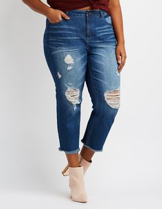 3744d6dac3a56 Plus Size Refuge Destroyed Straight Leg Jeans
