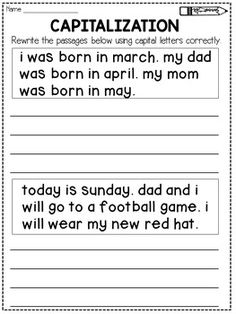 Capitalization Worksheets Rewrite the Passage (Distance Learning) Punctuation Worksheets, First Grade Worksheets, English Worksheets For Kids, School Worksheets, Capitalization Rules, Writing Sentences Worksheets, Coloring Worksheets, Fractions Worksheets, Teacher Worksheets