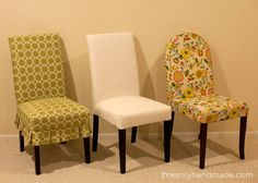 [gallery One of chair type which is perfect for dining room is parson chairs. What kind of parson chairs actually? Parson chairs are armless chair with long back and wooden legs. Target Dining Chairs, Grey Dining Room Chairs, Round Back Dining Chairs, Dining Room Chair Slipcovers, Dining Chair Seat Covers, Used Office Chairs, Patterned Chair, Parsons Chairs, Cool Chairs