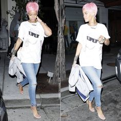 Rihanna wearing Joyrich Ghetto Pink Bear t-shirt, Citizens of Humanity Racer skinny jeans in Crosby, Manolo Blahnik Chaos pink suede sandals.