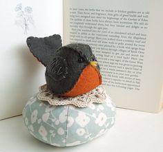 Dark Gray and Orange Felt Robin on Floral Pincushion by SeaPinks, $20.00