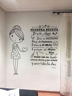 Vinilo decorativo de Nuestra receta con una simpática niña con corazones. Wall Decor, Room Decor, Coffee And Books, Love Home, Ideas Para, Diy And Crafts, Projects To Try, Interior Decorating, Sweet Home