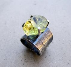 Golden Apatite Ring Metalsmithed Lost Wax Cast by SilviasCreations, $139.00