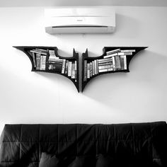 The Dark Knight Bookshelves. $267.00, via Etsy. (Ideally for books about vengeance, justice, and Fledermäuse.)