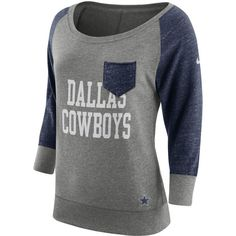 8871992cc Women s Dallas Cowboys Nike Heathered Gray Navy Tailgate Vintage Raglan  3 4-Sleeve T-Shirt