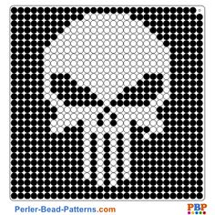 Punisher Perler Bead Pattern and Designs Perler Bead Designs, Perler Bead Templates, Hama Beads Design, Diy Perler Beads, Pearler Bead Patterns, Perler Bead Art, Pearler Beads, Perler Patterns, Loom Patterns