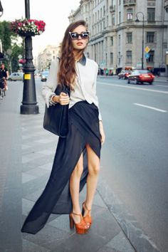 Long skirt, but short in the front. I like!