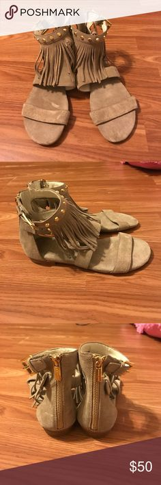 Michael kors billy fringe sandal This is a khaki suede sandal with fringe and gold studs. Zips up the back, extremely comfortable shoe and never worn. MICHAEL Michael Kors Shoes Sandals