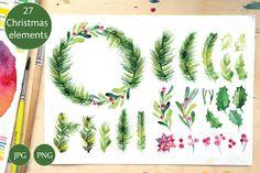 Watercolor Christmas set, wreath  @creativework247