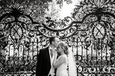 Capesthorne Hall wedding   black and white portrait in the garden   Martin Hambleton Cheshire wedding photographer