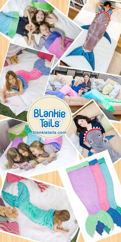 If your kids dream of being mermaids, they will flip over Blankie Tails mermaid tail blankets. If they dream of being sharks? Well, take a look!