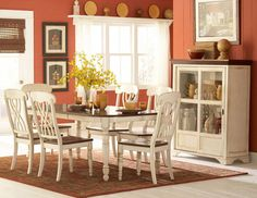 CASUAL COUNTRY WHITE DINING TABLE & CHAIRS DINING ROOM FURNITURE SET SALE #Unbranded #Country