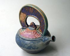 Small Functional Teapot with dogwood design