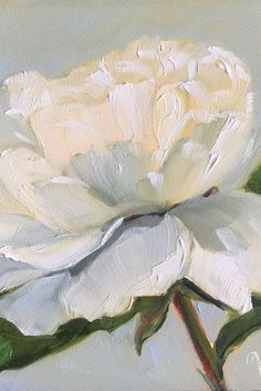 White rose palette knife painting with pretty light and shadows. I think a little more shadow is needed in center.