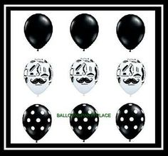 New Latex Mustache Balloons Set Party Supplies Decorations Moustache Black White | eBay