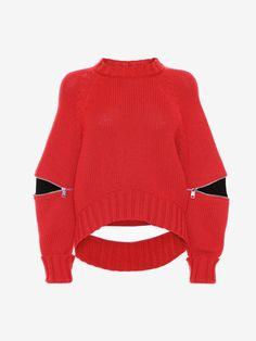 ALEXANDER MCQUEEN Slashed Red Detail Knitted Jumper